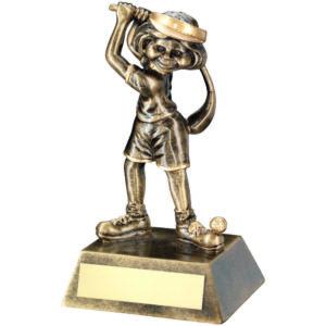 Female Wonky, Fun Golf Trophy,140mm, Antique Gold , Free Engraving (RF96) td