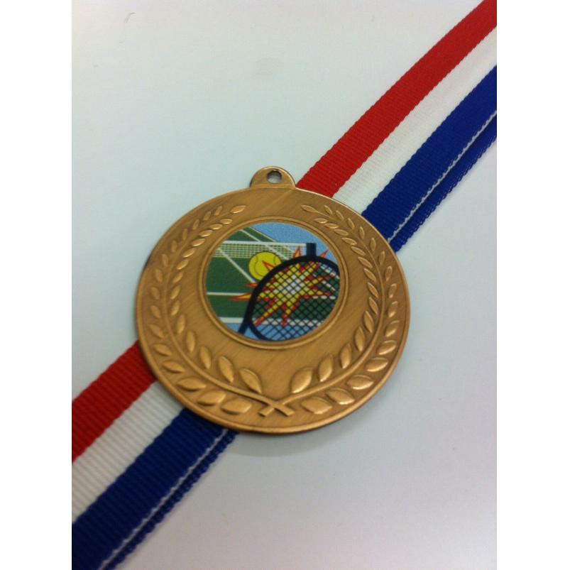 50mm Tennis Medal with Ribbon, Gold, Silver, Bronze (7350)